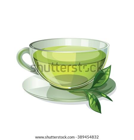 A cup of tea isolated on white background. Health drink green tea in a glass cup. Vector illustration. - stock vector