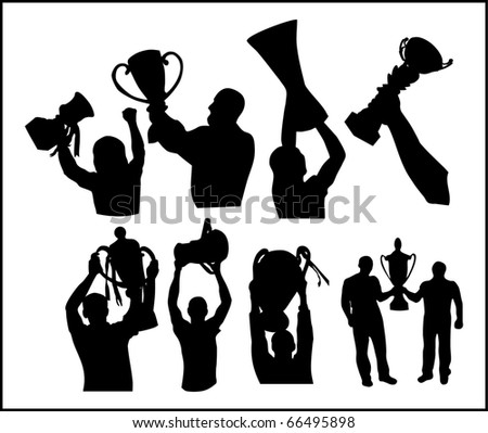A cup of winner is in the hands of champion - stock vector