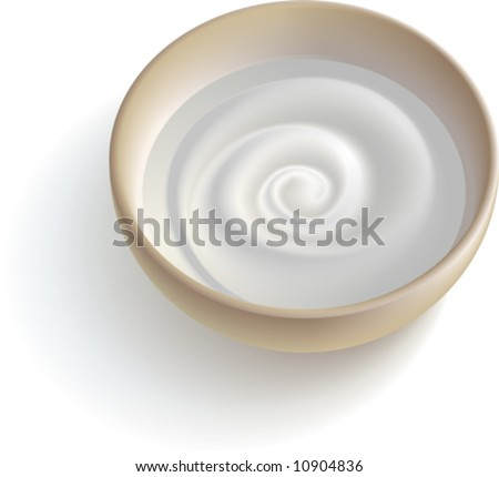 A cup with some white creamy substance. - stock vector
