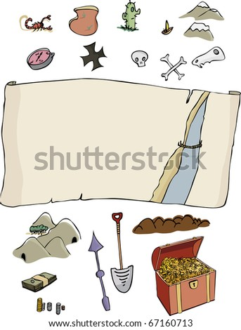 A customizable, comic-style treasure hunter map template with optional items. Fun for all ages. - stock vector