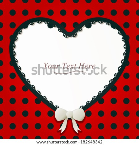 A cute black and red polka dot heart frame accented with a small white bow and black lace. Eps 10 Vector. - stock vector