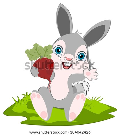A cute bunny holding a radish smiling and  weaving. Cartoon character.