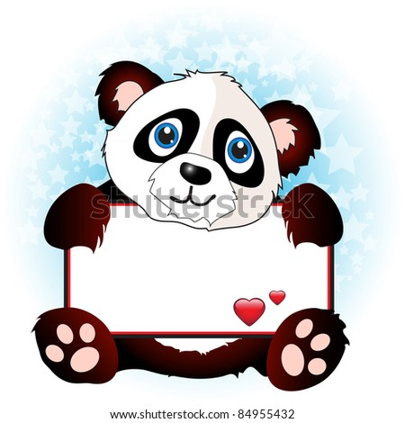 A cute cartoon panda holding a banner with hearts on subtle star background. Space for your text. EPS10 vector format - stock vector
