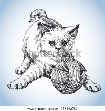 A cute cat playing with a ball of wool - stock vector
