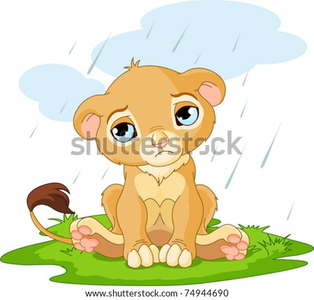 A cute character of sad lion cub on rainy day - stock vector