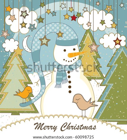 A cute Christmas card with a snowman - stock vector