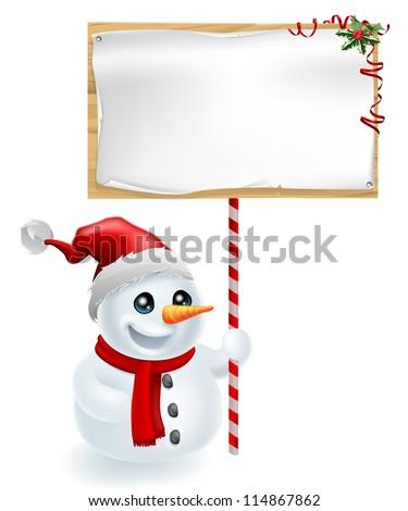A cute Christmas snowman with Santa hat holding a Christmas sign - stock vector