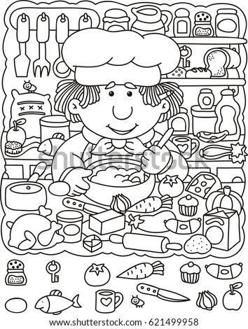 Cute Cook Making Tasty Soup Coloring Stock Vector 621499958 ...