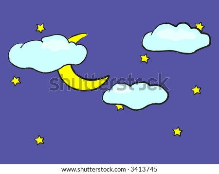 a cute drawing of a night sky with the moon, stars and puffy clouds - stock vector
