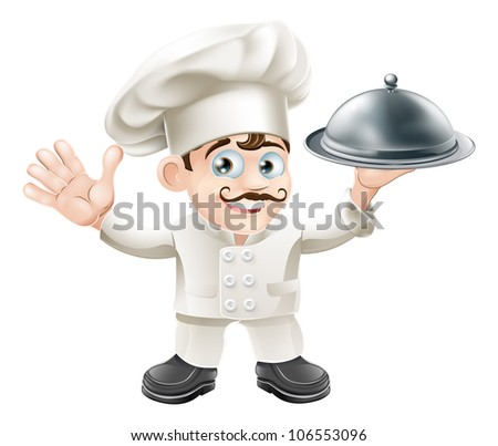 A cute French chef mascot with moustache holding a silver food platter and looking at viewer - stock vector