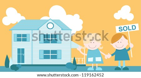 A cute fun illustration of a couple holding hands outside their new home. The man holds a sold sign in his hand - stock vector