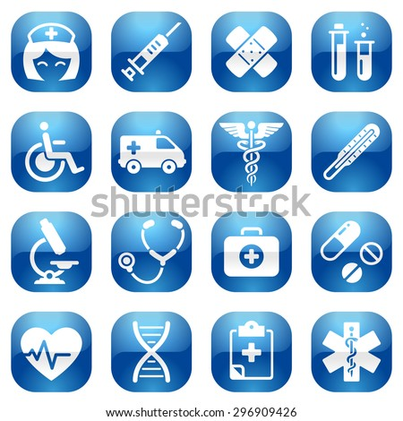 A cute icon set with lots of health care themed icons - stock vector