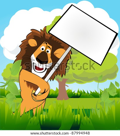 a cute lion in the jungle with a blank sign - stock vector