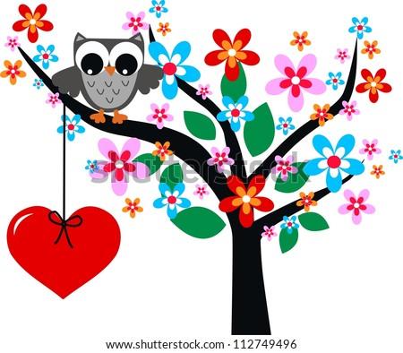 a cute little grey owl in a tree love - stock vector