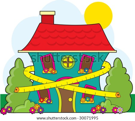 A cute little house with a tape measure around it suggesting conservation - stock vector