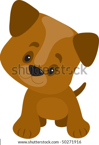 A cute little puppy with a big head looking curious and happy - stock vector