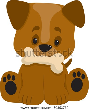 A cute little puppy with a big head looking happy with a bone in it's mouth - stock vector
