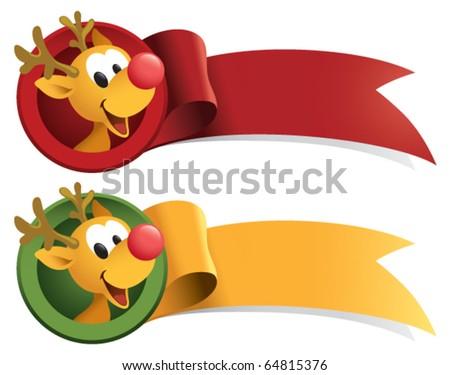 A cute little Reindeer Christmas ribbon. - stock vector