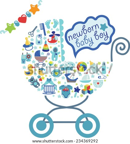 A cute Newborn icons set for Baby boy.Composition in form of carriage.Baby shower cartoon design elements.Poster,card,invitation,template.New born baby infographic.Vector - stock vector