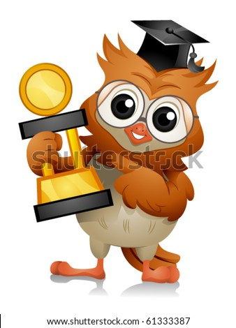 A Cute Owl Holding a Big Trophy - Vector - stock vector