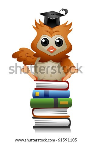 A Cute Owl Sitting on a Pile of Books - Vector