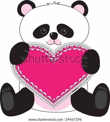 A cute panda holding a lacy pink heart in his paws - stock vector