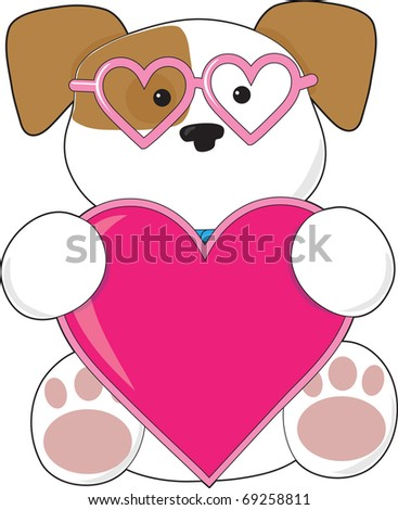 A cute puppy holding a big pink heart and wearing heart shaped sunglasses