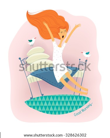 A cute redhead girl wakes up sitting on the lovely bed with a plurality pillows. Vector illustration vintage style. - stock vector