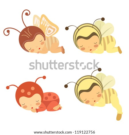 A cute set of sleeping babies in various costumes - stock vector