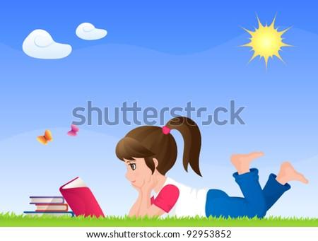 a cute small girl reading a book on a sunny meadow - stock vector