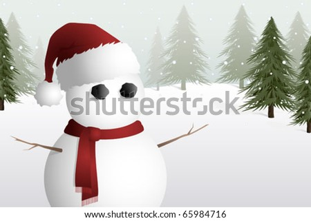 A cute snowman in a snowy field