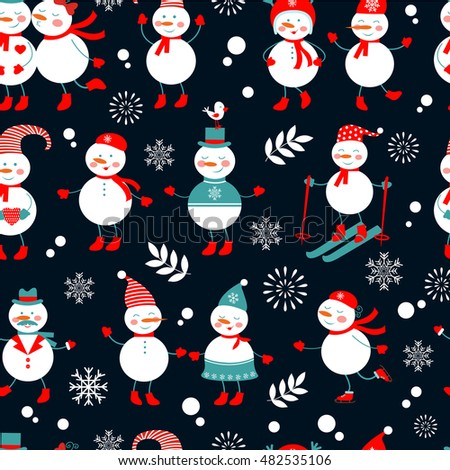 A cute snowmen seamless pattern