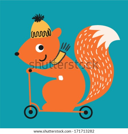 A cute squirrel riding a scooter. Vector illustration - stock vector