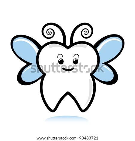 A cute tooth fairy. - stock vector
