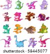 a cute vector dinosaur set - stock photo