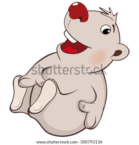 A cute white polar bear cub cartoon