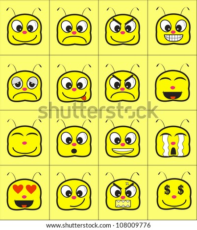 a cute yellow animal expression which - stock vector