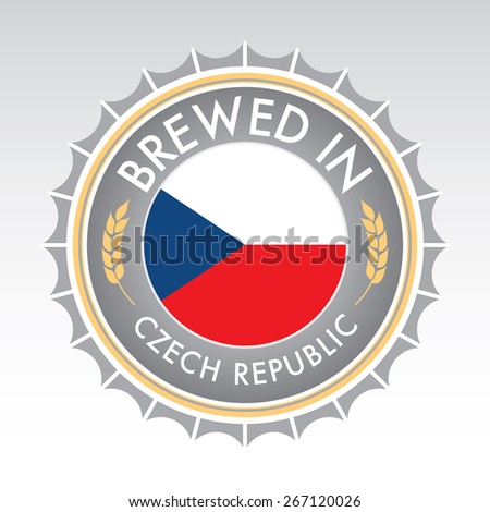 A Czech beer cap crest in vector format. The bottle cap features the Czech flag flanked by two golden wheat icons. - stock vector