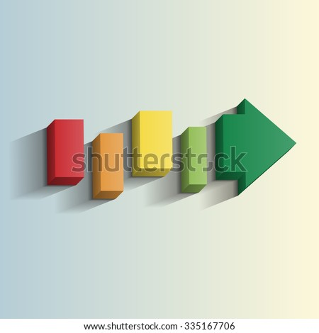 A 3d arrow broken into segments with a long shadow effect points to a brighter future. This file is Vector EPS10. It uses transparencies and blends.