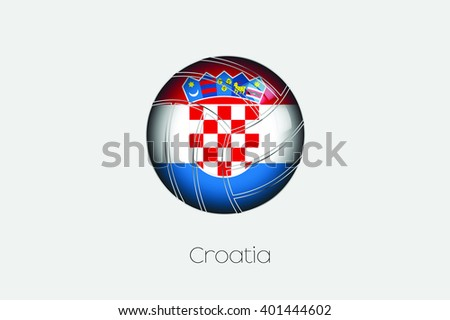 A 3D Football with a Flag Illustration of Croatia - stock vector