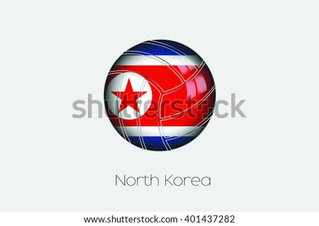 A 3D Football with a Flag Illustration of North Korea - stock vector