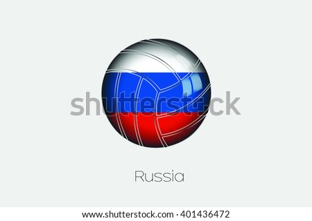 A 3D Football with a Flag Illustration of Russia - stock vector
