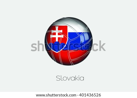 A 3D Football with a Flag Illustration of Slovakia - stock vector
