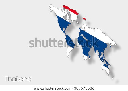 A 3D Isometric Flag Illustration of the country of  Thailand