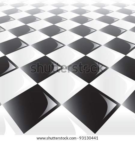 A 3d perspective view of a chess or checker board. Eps10 Vector. - stock vector