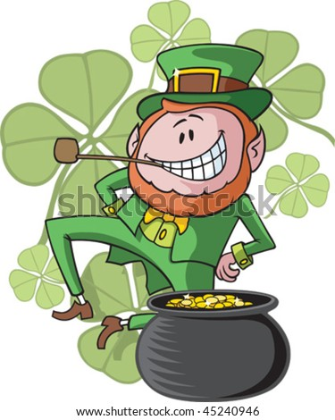 A dancing, cartoon Leprechaun and his pot of gold. Leprechaun, clover background and pot of gold are all on separate layers.