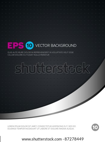 A dark cover background with metal accent and modern texture - stock vector