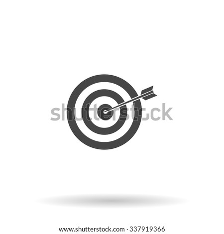 A dart is in the center of a dartboard. Target concept. Icon Vector - stock vector