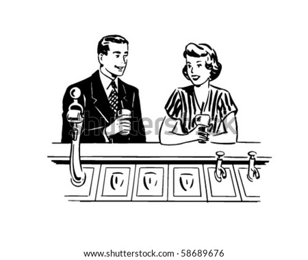 A Date At The Soda Fountain - Retro Clip Art - stock vector