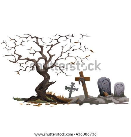 A dead tree in an abandoned graveyard. Vector. - stock vector